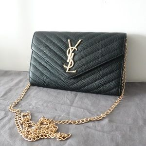 YSL Chain wallet black gold